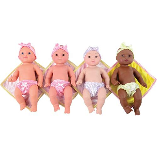 Constructive Playthings Tender-Touch Multi-Cultural Baby Dolls with Blankies, Set of 4