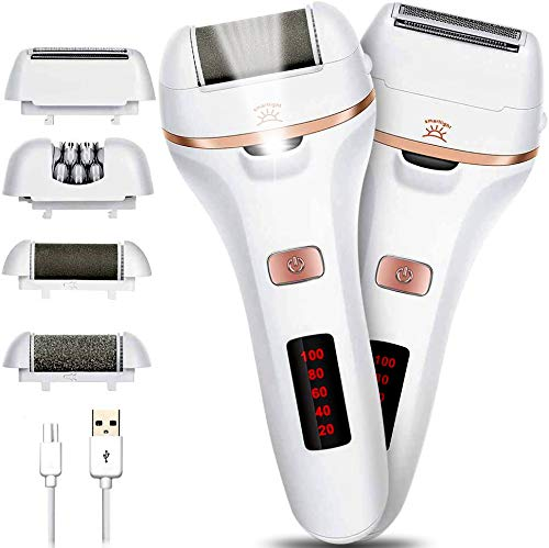 Electric Callus Remover for feet, Rechargeable Foot File Hard Skin Pedicure Tools Lady Shaver Pedicure Hair Remover Epilators for Womens Wet and Dry Painless Razor Bikini Trimmer, with LED Light