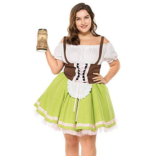 Damen Oktoberfest Dirndl, 2019 Frau Sexy kostüme Oktoberfest Karneval von der Schulter Kostüm Traditionelles Kleid Halloween Cosplay Trachtenkleid Maid Kostüm Kurzarm Mini Kleider Große Größe TWBB