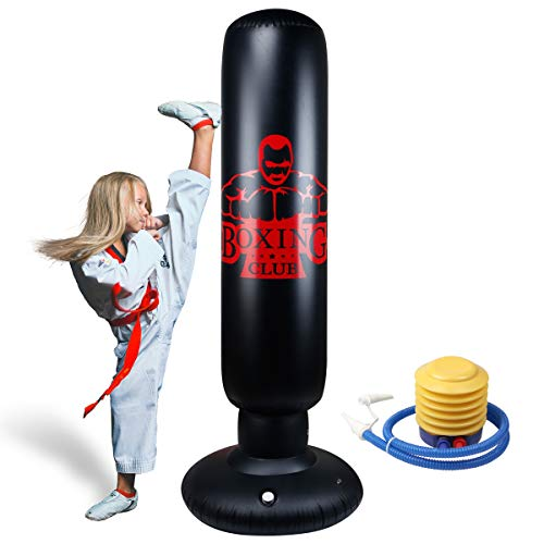 Locsee Punching Bag for Kids, PVC Thickening Inflatable Fitness Freestanding Boxing Bag for Kids Adults Tumbler Fighting Column Decompression Vent Toy Training Kickboxing Equipment(63 inch)