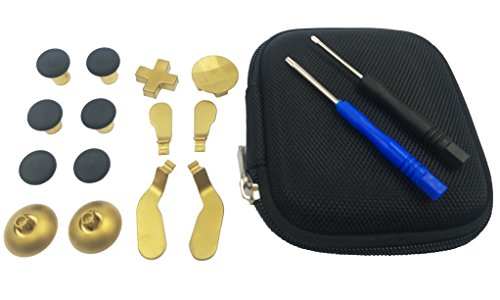 Hisonders 14 in 1 Metal Gold Replacement Thumbsticks,Joysticks,Bases,D-pads and Paddles with Open Tools for Xbox One Elite Controller
