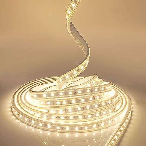 YAOBLUESEA 230V LED Streifen LED Lichtband Licht Schlauch Streifen Warm Wasserdicht Schmuck Schlauch Warmweiß SMD 5050 IP65 für Hausbeleuchtung Dekoration Bar (Warmweiß,4M)