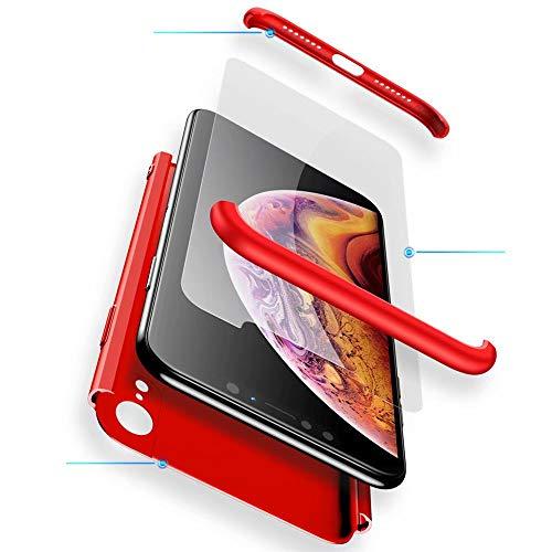 WYRHS Funda Huawei Honor Play Protección de 360 Grados 3 en 1 con [Protector de Pantalla de Vidrio Templado] Silicona TPU Bumper Shockproof Resistente a Los Arañazos Cover-Rojo