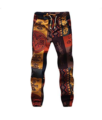 BOLAWOO Pantalon Lino Hombre Fashion Flores Estampado Vintage Etnicas Estilo Casuales con Cordón Pantalones Hippies