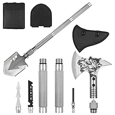 LIANTRAL Folding Military Shovel Camping Axe Portable Survival Kits with Sheath for Backpacking, Entrenching Tool, Car Emergency