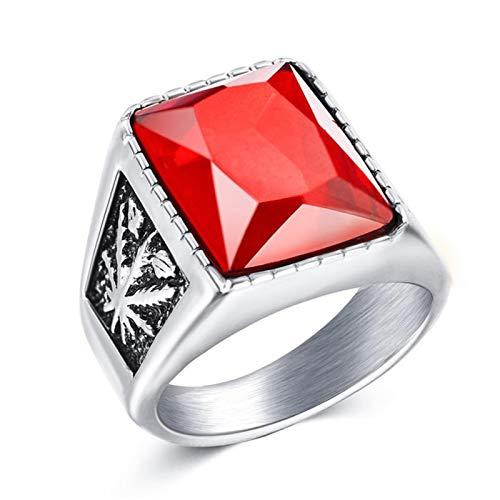 Anillos de nudillo anillos de dedo, vintage hombres de imitación de piedras preciosas de tungsteno arce anhelados anillo de la banda de dedo regalo de la joyería - plata rojo US8