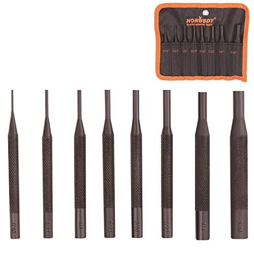 HORUSDY 8 Pieces Pin Punch Set, Gunsmithing Kit Removing Repair Tool with Holder for Automotive, Watch Repair,Jewelry and Craft