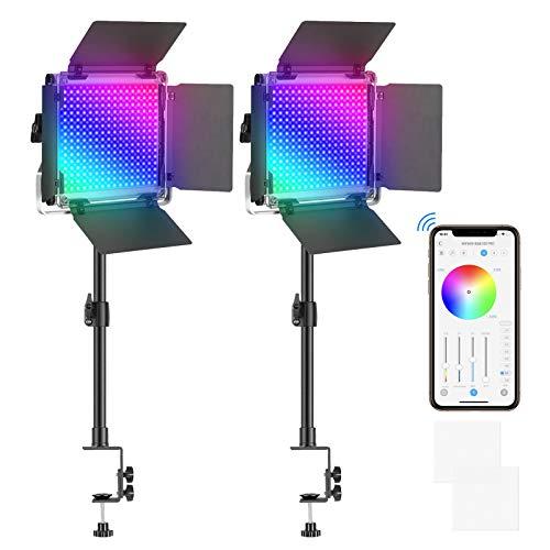 Neewer 2 Pack Luces de Video LED 530 Pro RGB con Control de Aplicación, 360° a Todo Color, Kit de Iluminación de Video de 45W con Soporte de Clip para Mesa, CRI 97+ para Transmisión, Zoom, Youtube