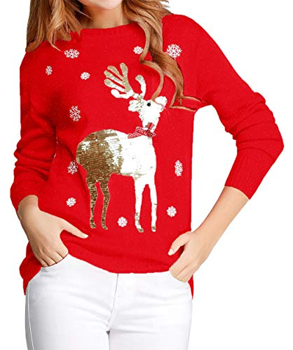 v28 Ugly Christmas Sweater for Women Reindeer Funny Merry Xmas Knit Sweaters (L, Red (Light-Gold Deer))