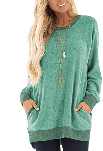 Aygience Women's Shirts with Pocket Casual Pullover Sweaters Long Sleeve T Shirts Sweatshirts Tops Blouses Green M
