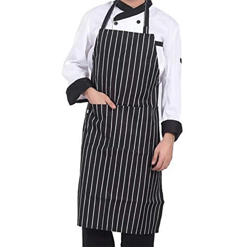 MLOPPTE Delantal ajustable de media longitud para adultos, delantal de camarero de chef de restaurante de hotel a rayas, delantal de cocina con 2 bolsillos A