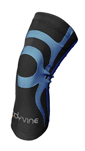 BODYVINE Unisex– Erwachsene unterstützt Patella und Meniskus Schmerz Linderung 3-Lagen Kompressions Knie Bandage mit Power-Band Compression Taping, Blau, XL