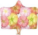 coperta Con Cappuccio con Stampa 3D, fiore Strato Spesso Peluche Gettabile Coperta Indossabile Mantello con Cappuccio 50x40 inch