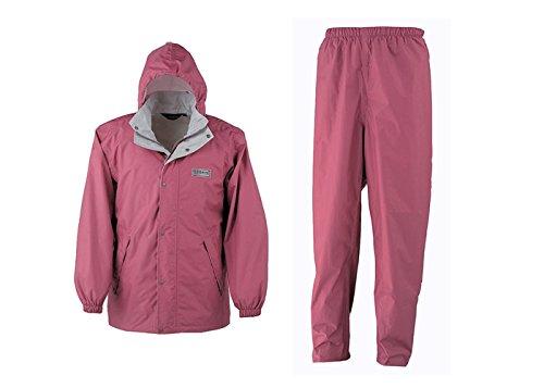 東レ エントラント使用 レインスーツ2 防水性と通気性を兼ね備えたレインコート (S, ピンク)