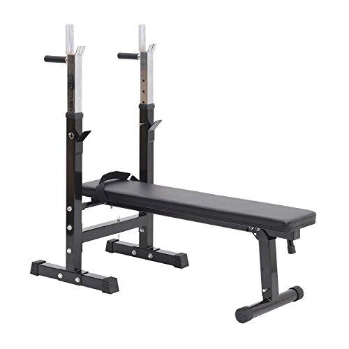 HOMCOM Banco de Pesas Plegable Banco de musculación Entrenamiento Máquina Gimnasio Gym Altura Ajustable Carga 150kg