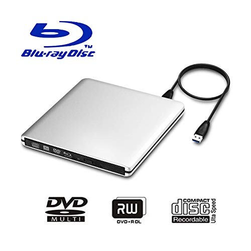 USB 3.0 External Blu-Ray DVD/BD/CD Drive, Portable Ultra-Thin 3D Blu-ray Player/Writer/Burner Used for The MacBook Pro Air, Apple Mac and So On Various Brand Computer Desktop, Laptop (Silver)