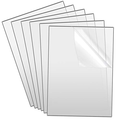 KONUNUS 6 Pieces Transparent Clear Acrylic Sheets 5 x 7 inch Acrylic Perspex Plastic Sheet 0.08 inch 2mm Thick Square Acrylic Panel for Picture Frame Glass Replacement Signs