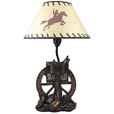 Horse Saddle on Wagon Wheel Desktop or Table Lamp in Gifts for Cowboys and Western Home Decor Accents