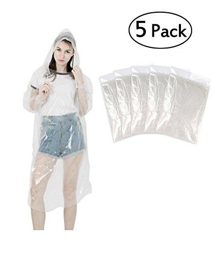 LEBEXY Einweg Regenponcho mit Kapuze Transparent 5 Stück