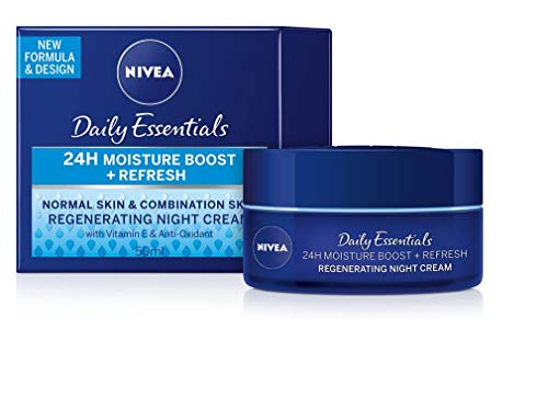 Genuine German Nivea Regenerating Night Care Cream Aqua Effect with Lotus Flower Extract for all skin types 1.69 fl. oz - 50ml