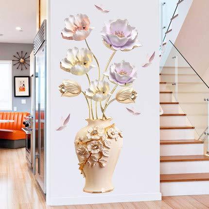 COVPAW® Wandtattoo Wandaufkleber XXL Blumen Vase Wandsticker Wandbild Bilder Wohnzimmer Schlafzimmer Deco (Vase 1)