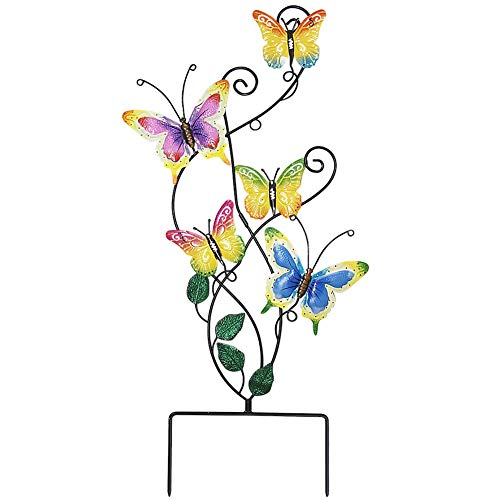 Juegoal 28 Inch Butterfly Garden Stake Decor Metal Wall Art Decoration, Yard Outdoor Ornaments