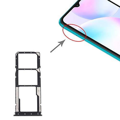 Carro bandeja bandeja soporte porta tarjeta nano SIM 1 + SIM 2 + ranura para tarjeta de memoria Micro SD compatible con Xiaomi Redmi 9A (6,53 pulgadas), color negro