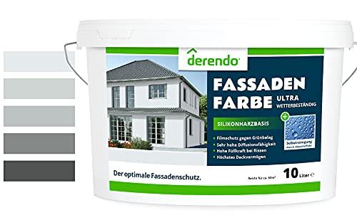 Derendo Silikonharz Fassadenfarbe grau mit ULTRA Wetterschutz, 2,5l, Abperleffekt wie beim Lotus Blatt, inkl. Filmschutz gegen Grünbelag, (Lichtgrau 15-16)