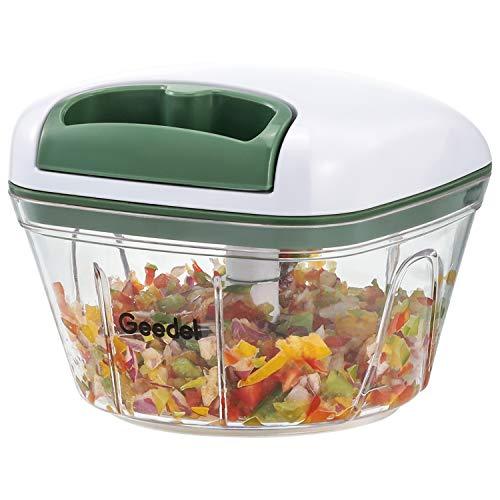 Manuelle Zerkleinerer, Knoblauch Zwiebelschneider Chopper für Küche, Leicht Zu Reinigender Gemüseschneider, Zwiebelhacker Ideal für Gemüse, Obst, Fleisch ohne Knochen (500 ML)