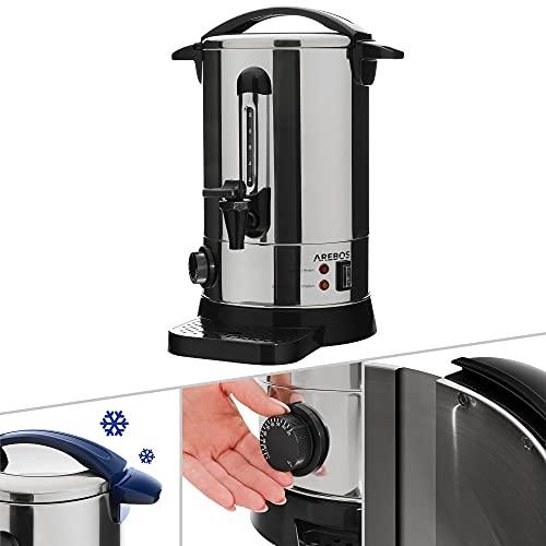AREBOS Glühweinkocher | Heißgetränkespender | 7 L | mit Auffangschale, Auslasshahn, Thermostat und Überhitzungsschutz | Temperatureinstellung von 30-110°C