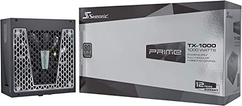 Seasonic PRIME TX-1000, 1000W 80+ Titanium, Full Modular, Fan Control in Fanless, Silent, and Cooling Mode,Perfect Power Supply for Gaming and High-Performance Systems, SSR-1000TR.