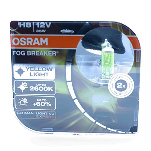 Osram 2x H8 PGJ19-1 Fog Breaker Nebelleuchte 35W 62212FBR für Geländewagen, gelbes Licht 2600 K