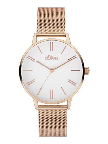 s.Oliver Damen Analoger Quarz Uhr mit Edelstahl Armband SO-3893-MQ, IP Roségold
