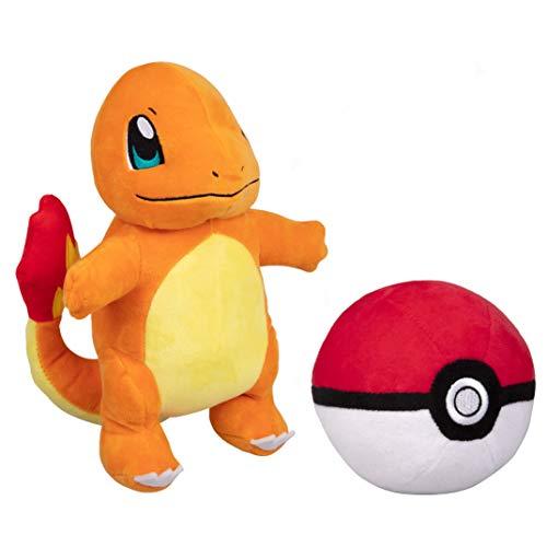 Wicked Cool Toys Pokemon Pokeball and 8' Charmander Plush Stuffed Animal Toy - Set of 2