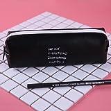 WSKL Estuche para bolígrafos Estuche para papelería Útiles Escolares Estuche para lápices con Puntos Blancos y Negros Estuche para lápices Rosa Lindo para Adolescentes Niñas Mujeres Cuero de PU, E