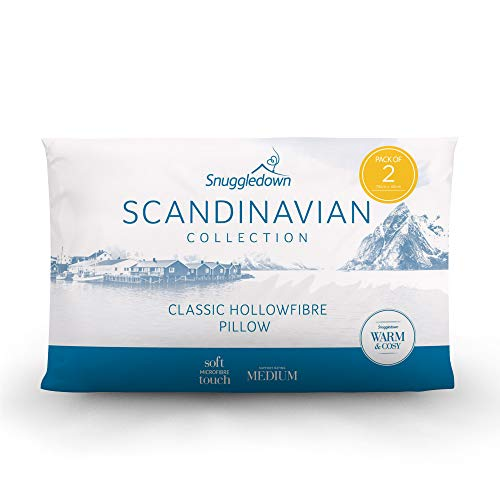 Snuggledown Classic Hollow Fibre White Pillows 2 Pack Medium Support Designed for Back and Side Sleepers Bed Pillows