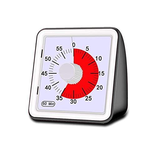 60 Minuten Stille Visuelle Analog Schüler Klassenzimmer Küchen-Timer Countdown Kochen Management Tools Startseite Erwachsene Adjustable (Color : Black)