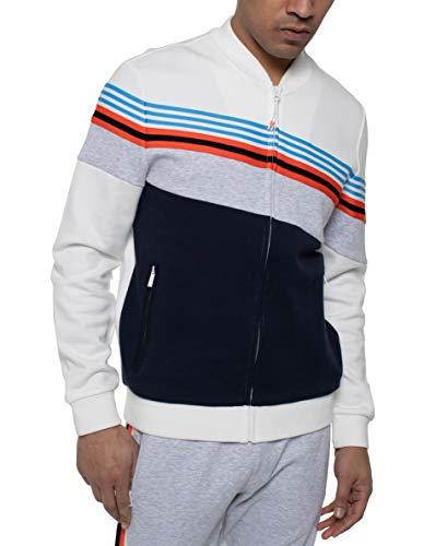 Sean John Men's Angled Color Blocked Track Jacket, Off White, L