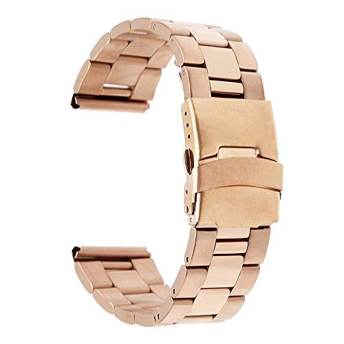 REDCVBN Correa de Reloj 18 mm 20 mm 22 mm Correa de Reloj de Acero Inoxidable Correa de Extremo Curvo Hebilla de Mariposa Cinturón Pulsera de muñeca Negro Oro Rosa Plata + Pulsera de Herramientas