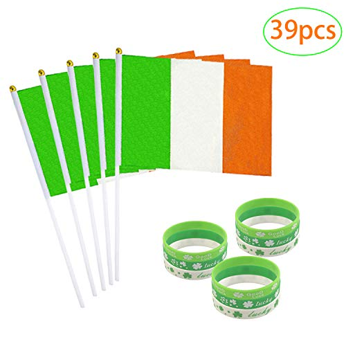 caicainiu Irish Flag, Irish National 5.5x8 Handheld Mini Flag, en drie Patriottische Logo Armbanden met 12
