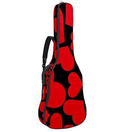 Bennigiry Bolso de guitarra con diseño de corazón rojo en