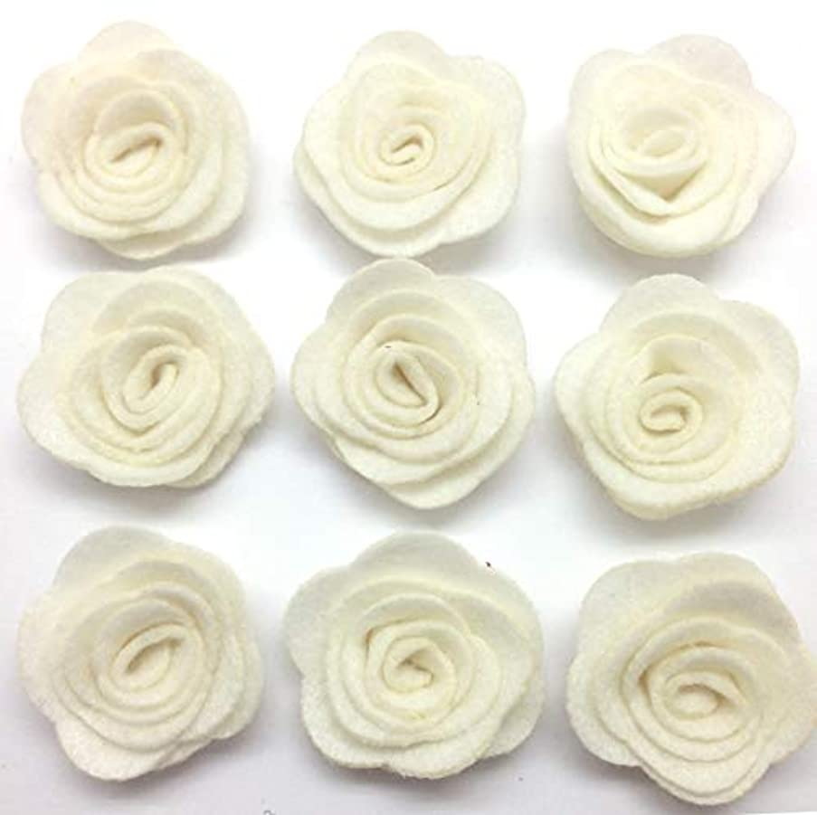 PEPPERLONELY 10PC Set Ivory Nonwovens Rose Fabric Flowers, 4cm (1.6 Inch)