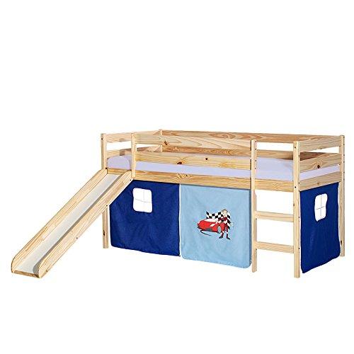 IDIMEX Rutschbett Benny Hochbett Kinderbett Spielbett Holzbett mit Rutsche, Vorhang mit Auto Motiv blau, Kiefer massiv Natur lackiert, 90 x 200 cm