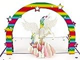 3D Geburtstagskarte, Einhorn mit Regenbogen