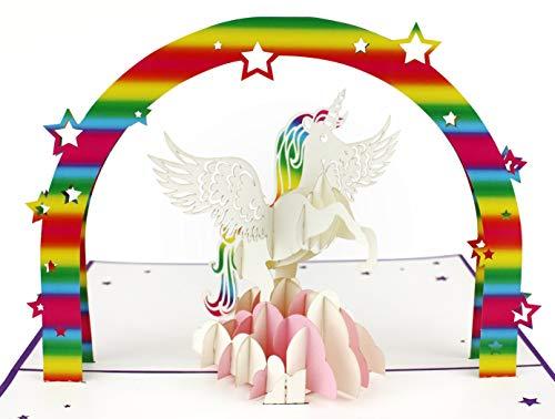 MOKIO® Pop-Up Karte – Einhorn mit Regenbogen auf rosa Wolke – 3D Karte zum Geburtstag, als Gutschein oder für Geldgeschenke, lustige Klappkarte mit Umschlag