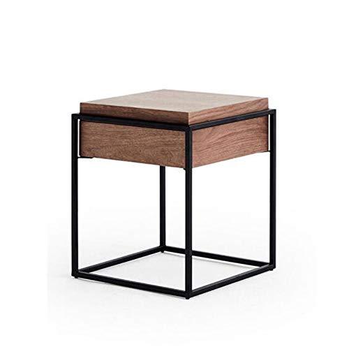 Bureau XIAOLIN deksel opslag hout en metalen bijzettafel, walnoot met lade nachtkastje computer