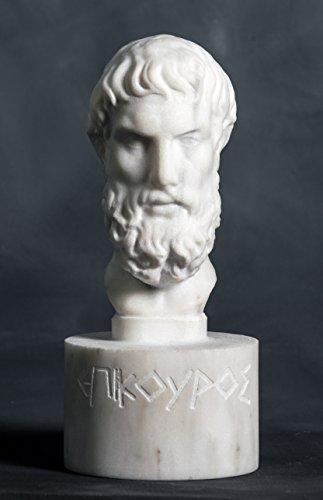 Busto de mármol del filósofo Epicurus tallado en estatua griega escultura artista