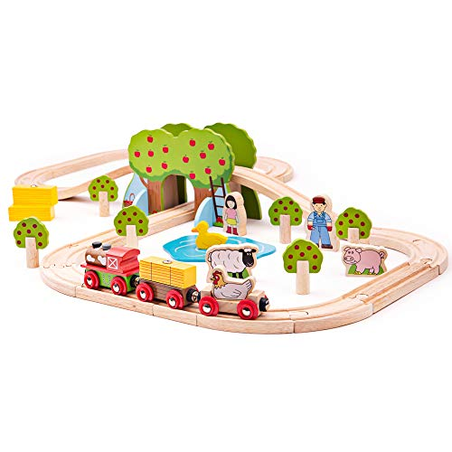 Bigjigs Rail Wooden Farm Train Set - 44 Play Pieces