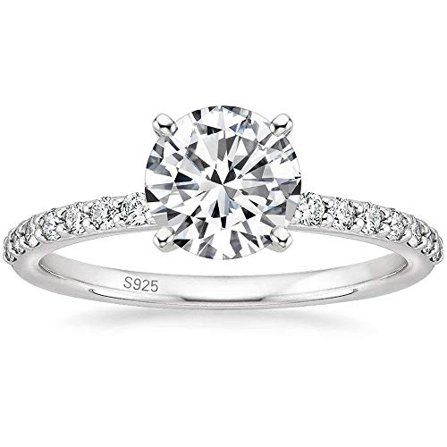 EAMTI 925 Sterling Silver 1.25 CT Round Solitaire Cubic Zirconia Engagement Ring Halo Promise Ring Size 5-11