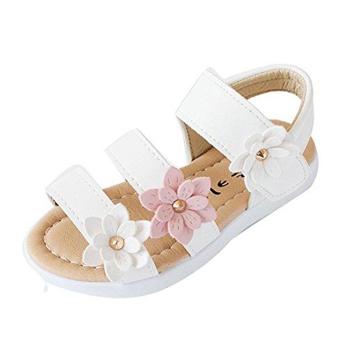 Sandalias niña Verano Zapatillas Zapatos Planos de Chicas Flor Sandalias para niñas Calzado Zapatos de Vestir Zapatos Princesa (Blanco, 21)